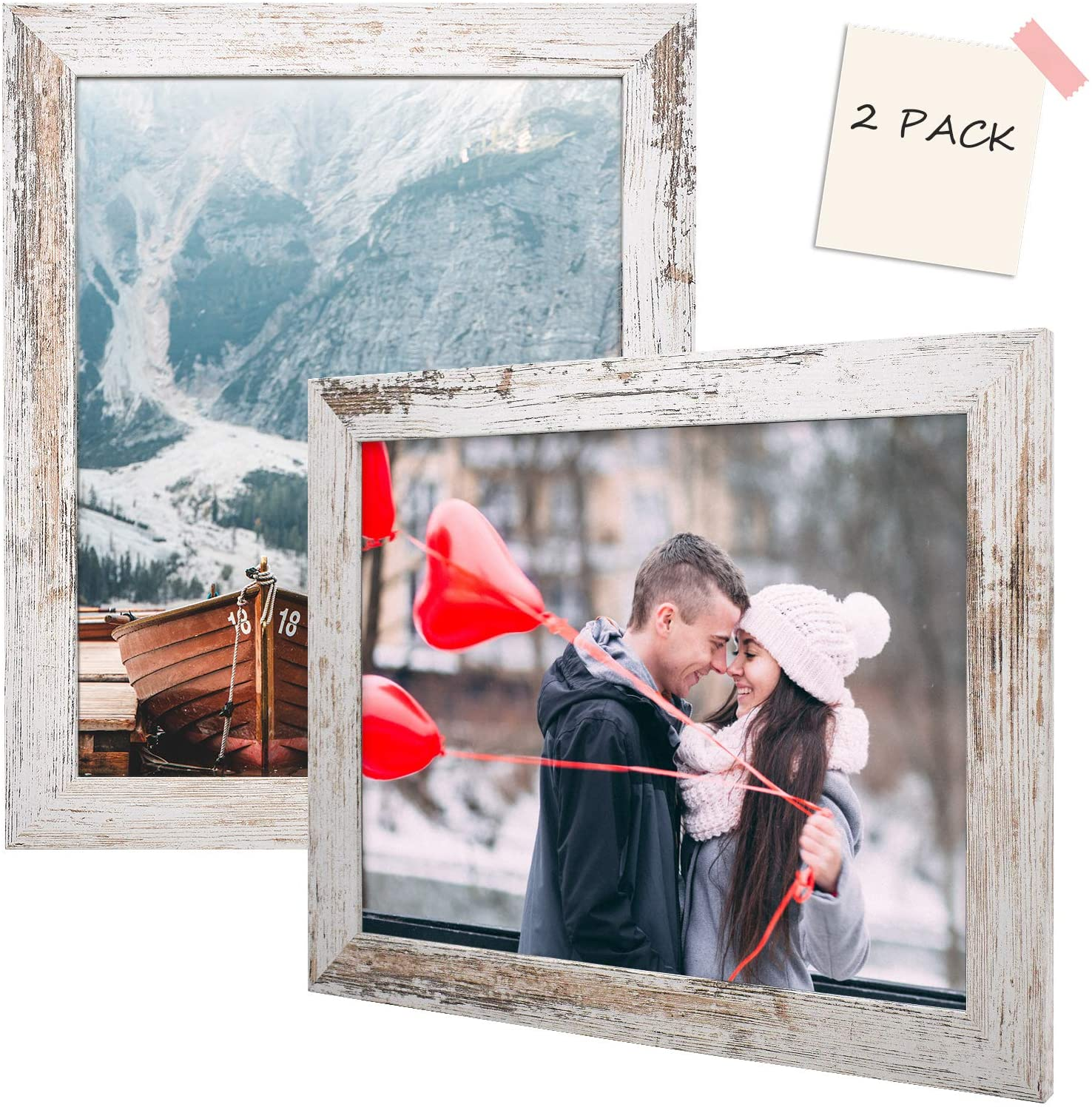 Golden State Art, Set of 2, 11x14 White Picture Frame - Wide Molding - Wood Grain Style - Back Hangers for Wall Display - Great for Baby Pictures, Weddings, Portraits