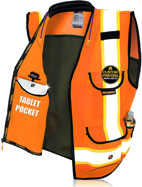 KwikSafety (Charlotte, NC) GODFATHER (Cushioned Collar) Class 2 ANSI OSHA High Visibility Safety Vest 9 Pockets Reflective Tape Heavy Duty Zipper Mesh Hi Vis Construction Men Women Orange Medium