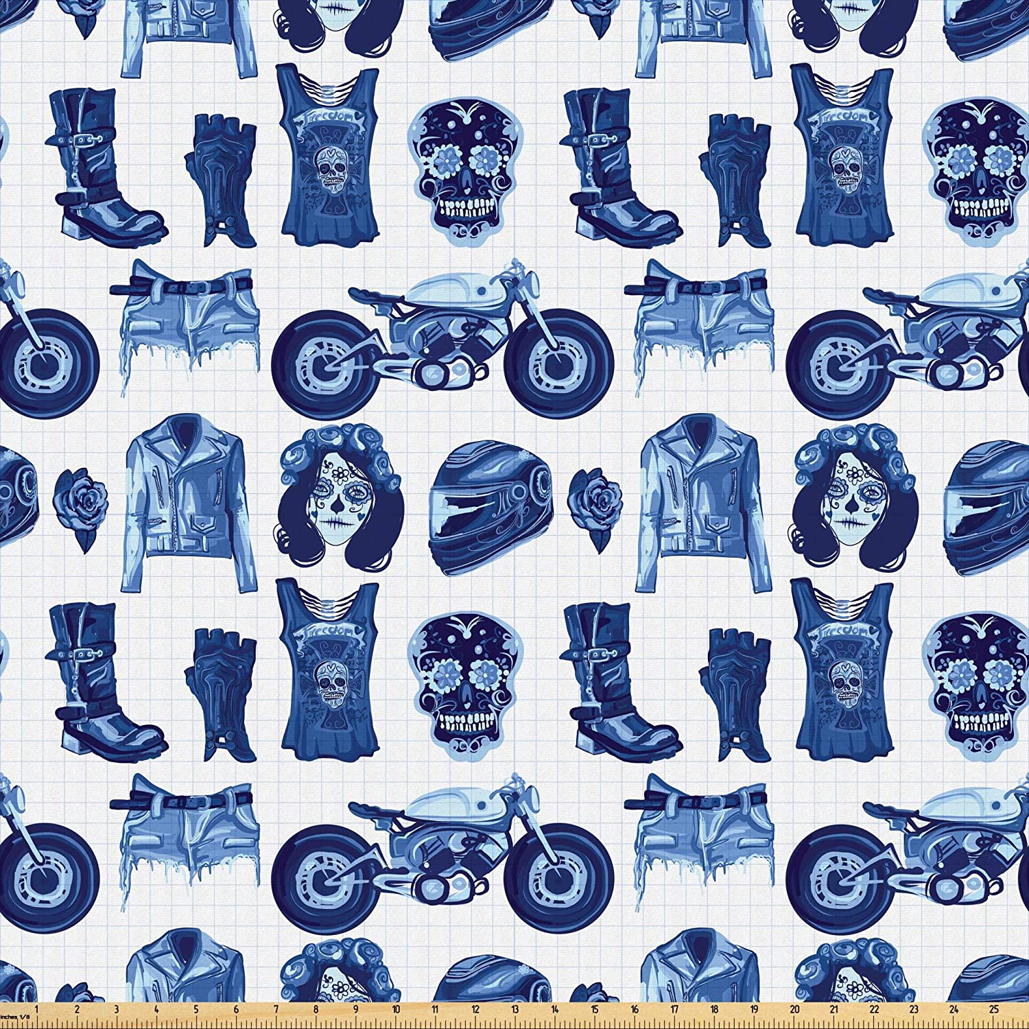 Lunarable Fashion Fabric by The Yard, Gothic Motorcycle Rider Clothes and Sugar Skull Darkness Watercolor Art Print, Microfiber Fabric for Arts and Crafts Textiles & Decor, 1 Yard, Navy Blue