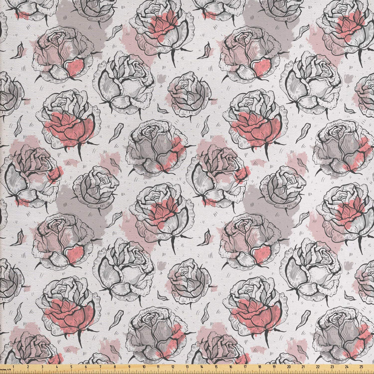 Ambesonne Rose Fabric by The Yard, Romantic Flowers with Pastel Paint Blots, Decorative Fabric for Upholstery and Home Accents, 1 Yard, Pale Rose Coral Grey