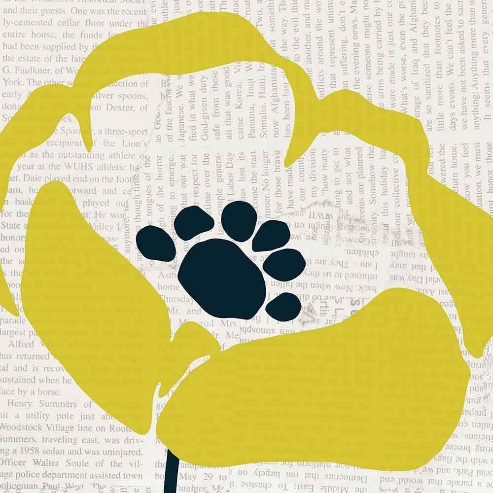 Pop Art Floral III Yellow Newsprint by Wild Apple Portfolio Art Print, 16 x 16 inches