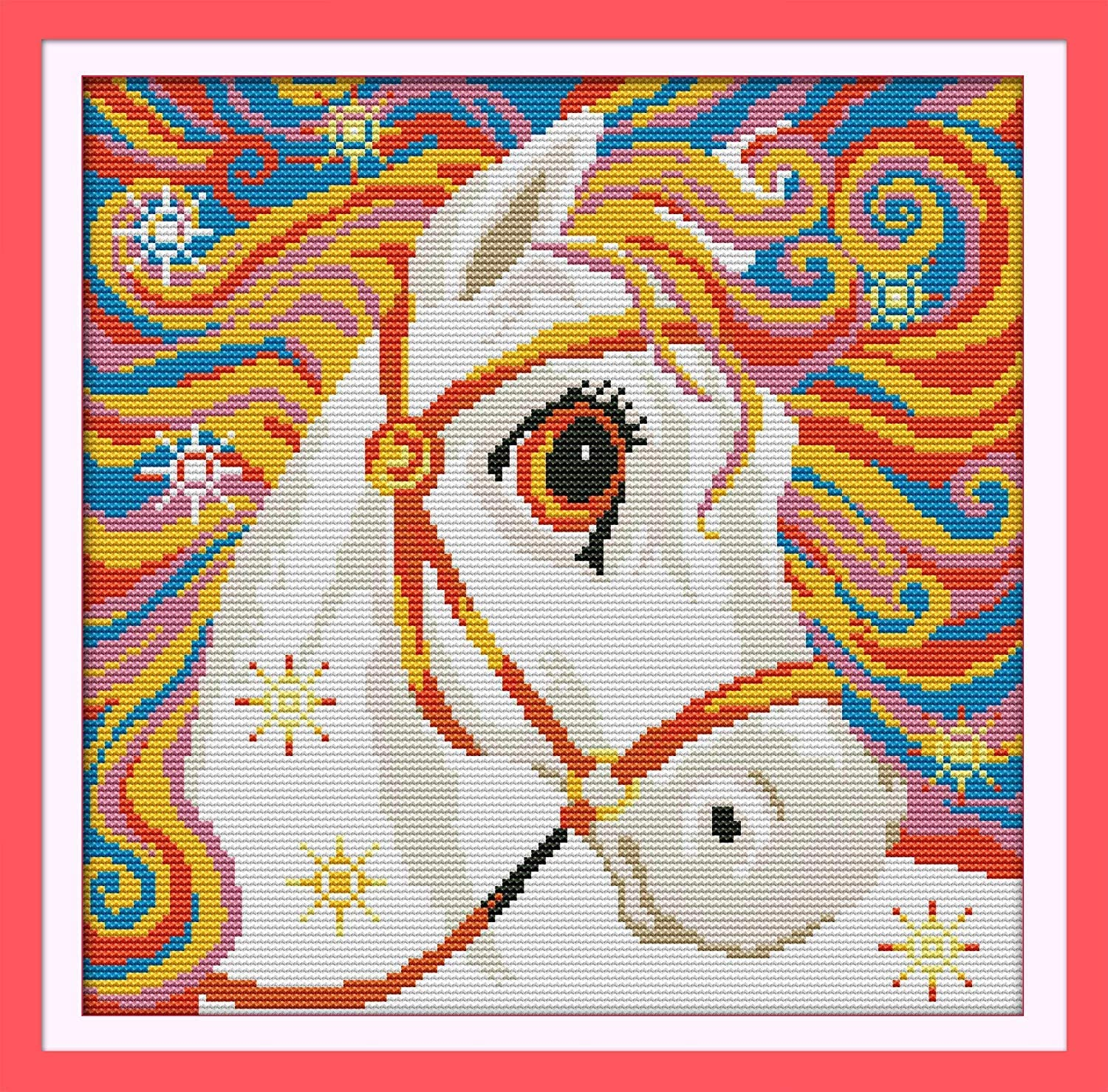Cross Stitch Stamped Kits Quilt Pre-Printed Cross-Stitching Patterns for Beginner Kids Adults, Pre-Printed Embroidery Needlepoint Starter Kits Rainbow Horse for Home Decorations