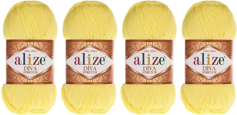 100% Microfiber Acrylic Stretch Yarn Alize Diva Stretch Thread Crochet Hand Knitting Turkish Yarn Lot of 4skn 400gr 1752yds (643-Lemon)
