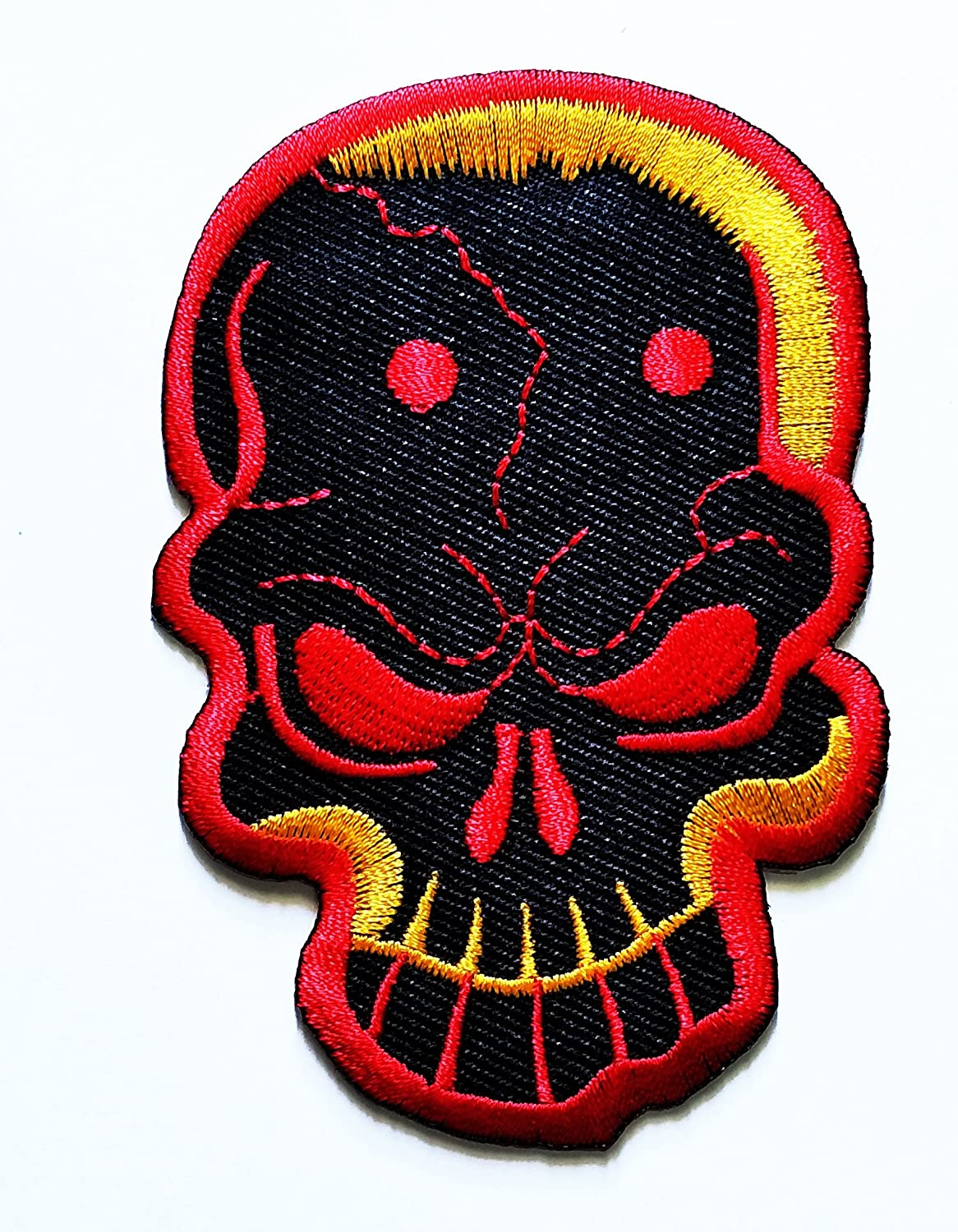HHO black Yellow Red SKULL Bone Hardcore Patch Embroidered DIY Patches Cute Applique Sew Iron on Kids Craft Patch for Bags Jackets Jeans Clothes