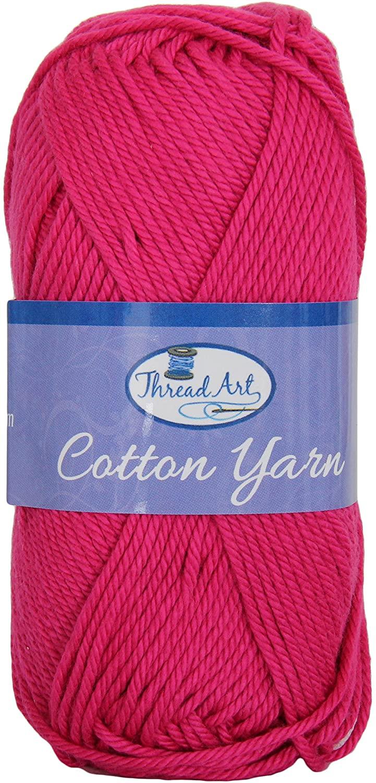 Threadart 100% Pure Cotton Crochet Yarn   Magenta   50 gram Skeins   Worsted Medium #4 Yarn   85 yds per Skein - 30 Colors Available