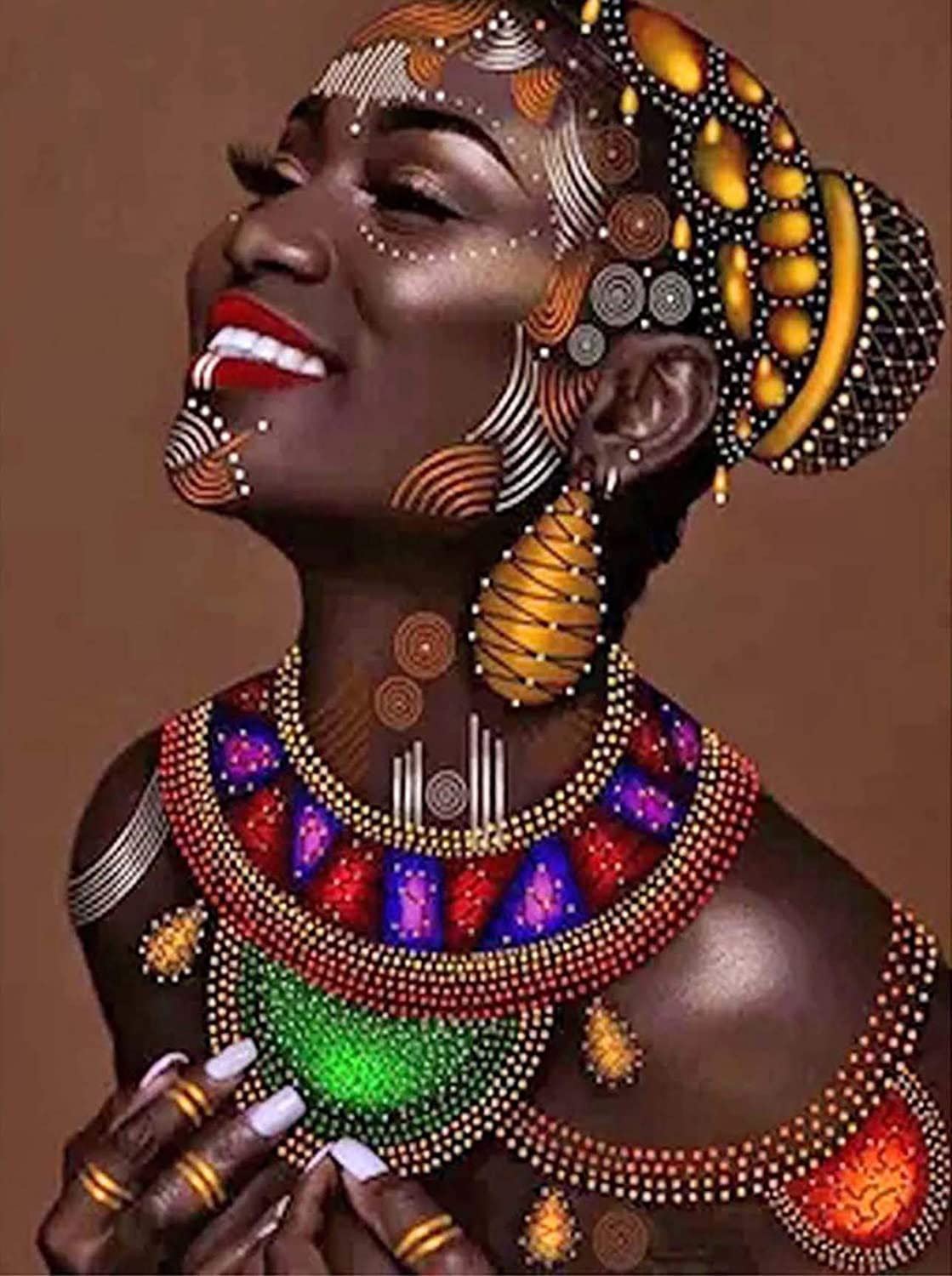 Palodio DIY 5D Character African Woman Diamond Painting Round Full Diamond, Smile Black Complexion Embroidery Cross Stitch Art Crafts Canvas Household Wall Decoration 12x16 Inch