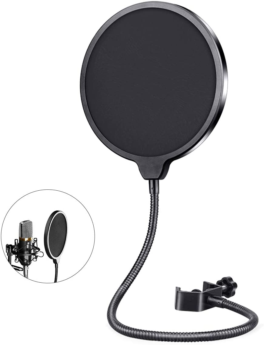 OhhGo Microphone Pop Filter Dual Layered Wind Pop Screen Mic Shield with Flexible Metal Gooseneck