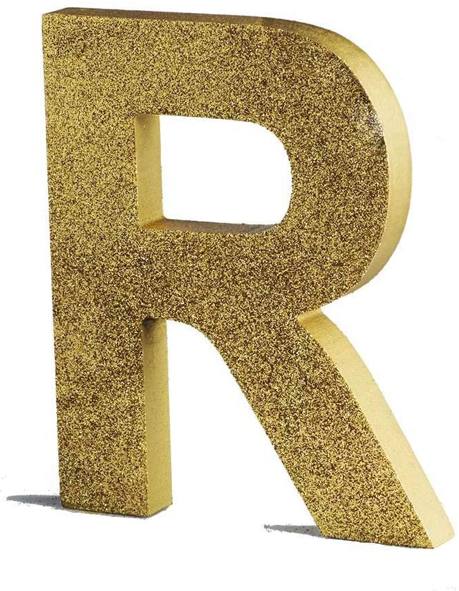 AimtoHome Gold Decorative Wood Letters, Hanging Wall 26 Letters Wooden Alphabet Wall Letter R for Home Bedroom Wedding Brithday Party Decor-Letters (R)
