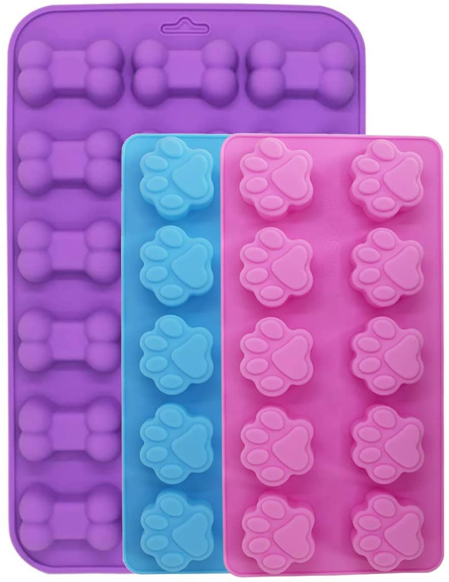 3 Pcs Silicone Molds,18-Cavity and10-Cavity, with Puppy Dog Paw and Bone Shape, Reusable Bakeware Maker for Baking Chocolate Candy, Oven Microwave Freezer Dishwasher Safe - Pink, Blue, Purple