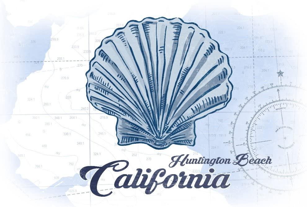 Huntington Beach, California - Scallop Shell - Blue - Coastal Icon (9x12 Art Print, Wall Decor Travel Poster)