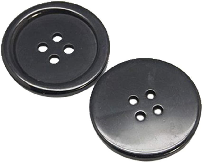 arricraft 98pcs/Bag 25mm Buttons, Flat Round Resin Buttons, 4 Holes Craft Buttons for Sewing Scrapbooking DIY Craft-Black