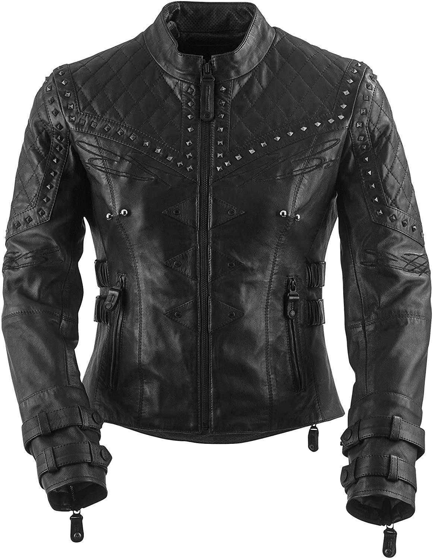 Black Brand Womens Leather Brazilian Waxed Motorcycle Jacket (Black, X-Small)