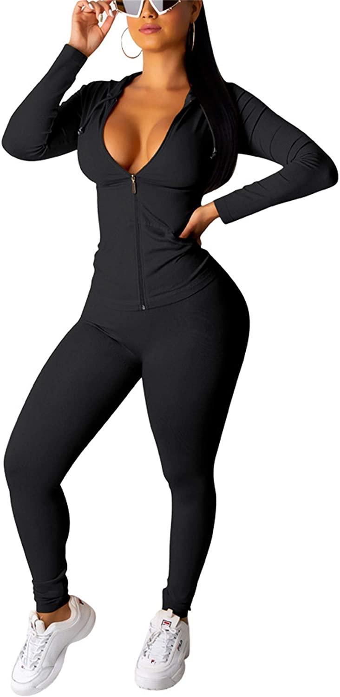 Women Casual Sweatsuits 2 Piece Full Zip Hoodie Sweatshirt Bodycon Sweatpants Tracksuit Outfits Sets