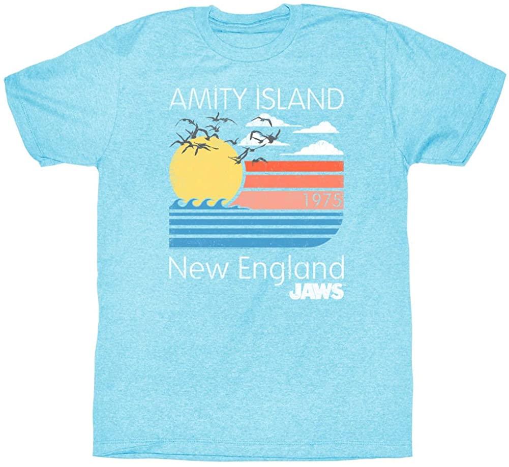 Jaws T-Shirt Line Amity Island 1975 New England Light Blue Heather Tee