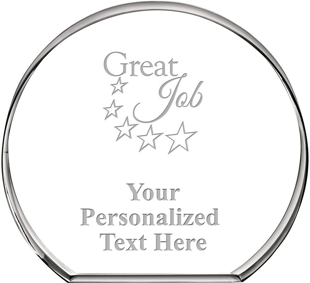 Great Job Standing Circle Paperweight, Custom Engraved Great Job Crystal Paperweight Gift