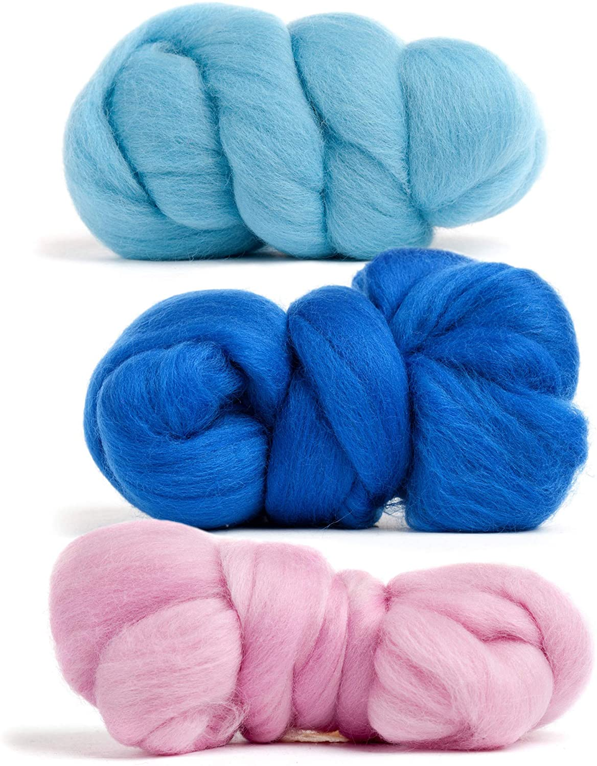 Merino Wool Roving, Premium Combed Top, 3 Colors - Pink, Aqua, Blue, 1 OZ Each, 21.5 Micron, 100% Pure Wool, Made in The UK