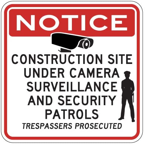 STOPSignsAndMore - Construction Site Under Video Surveillance Sign - 24x24