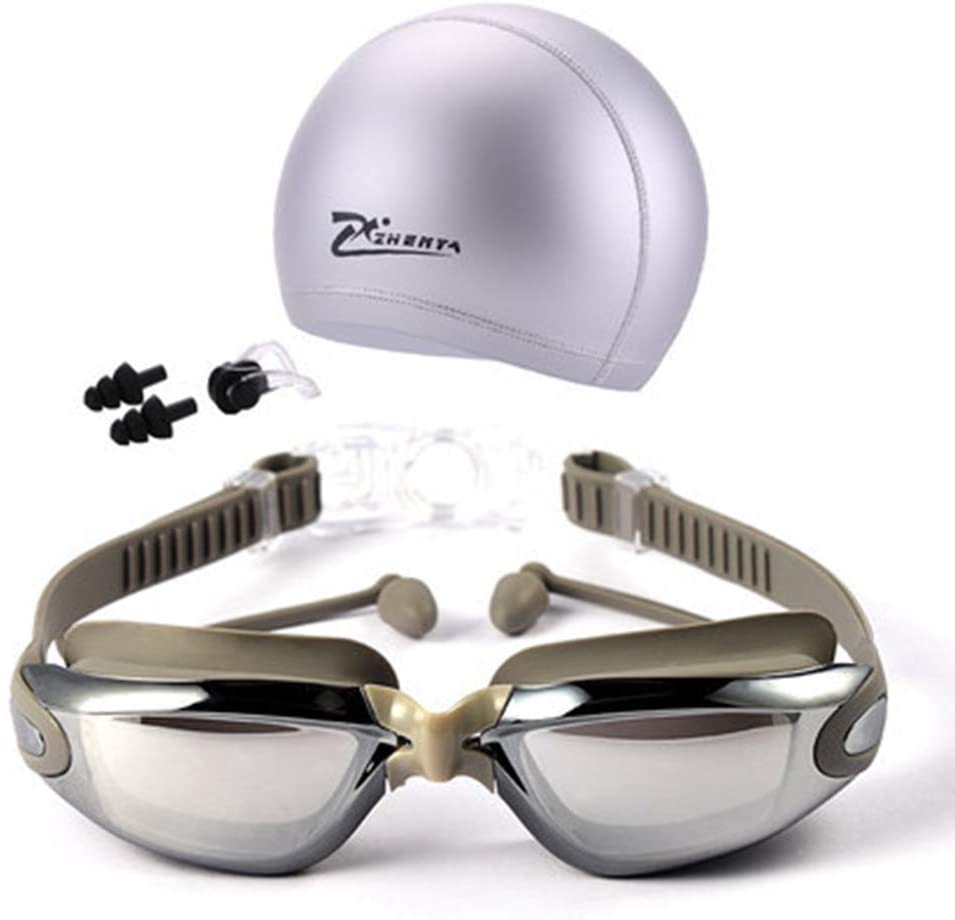 Lixada 4 in 1 Swim Goggles and Cap Set Anti Fog UV Protecting Water Proof with Earplug Nose Clip Swimsuit Cap No Leaking for Adult Child Men Women