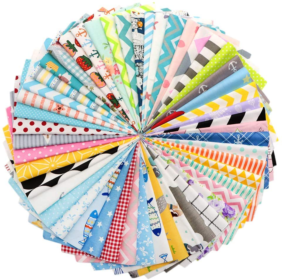 David accessories 50pcs 20x20cm (7.8x7.8 inch) Cotton Quilting Fabric Bundles Random Pattern Precut Squares Patchwork Fabric for DIY Sewing Quilting (Assorted)