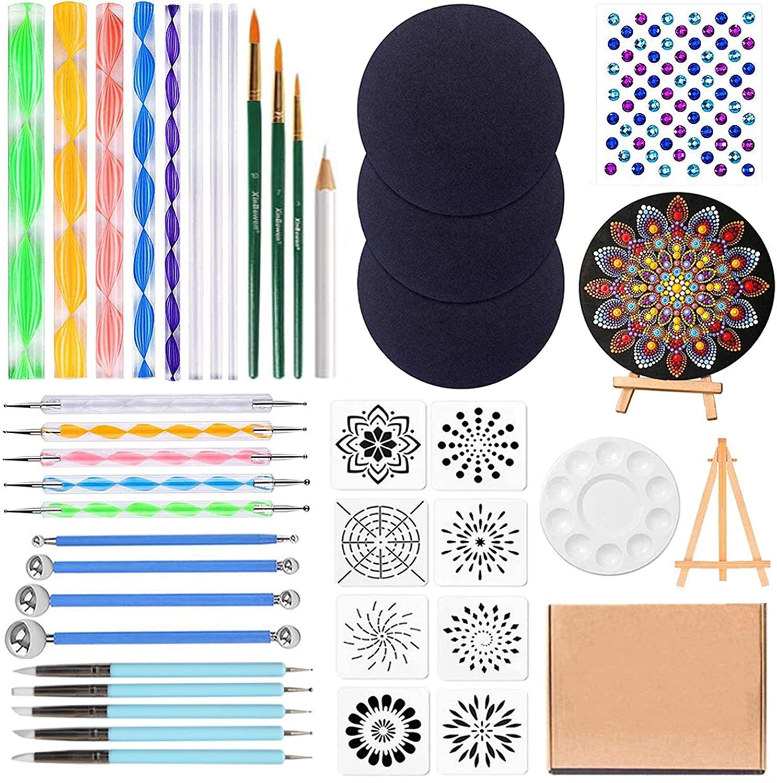 41PCS Mandala Dotting Tools Set, Ofilon Mandala Painting Dotting Stencils Kit with 3 Cardboards, 8 Stencil Templates, Pen Ball Stylus Paint Tray for Painting Rocks, Coloring, Drawing,Nail Art Painting