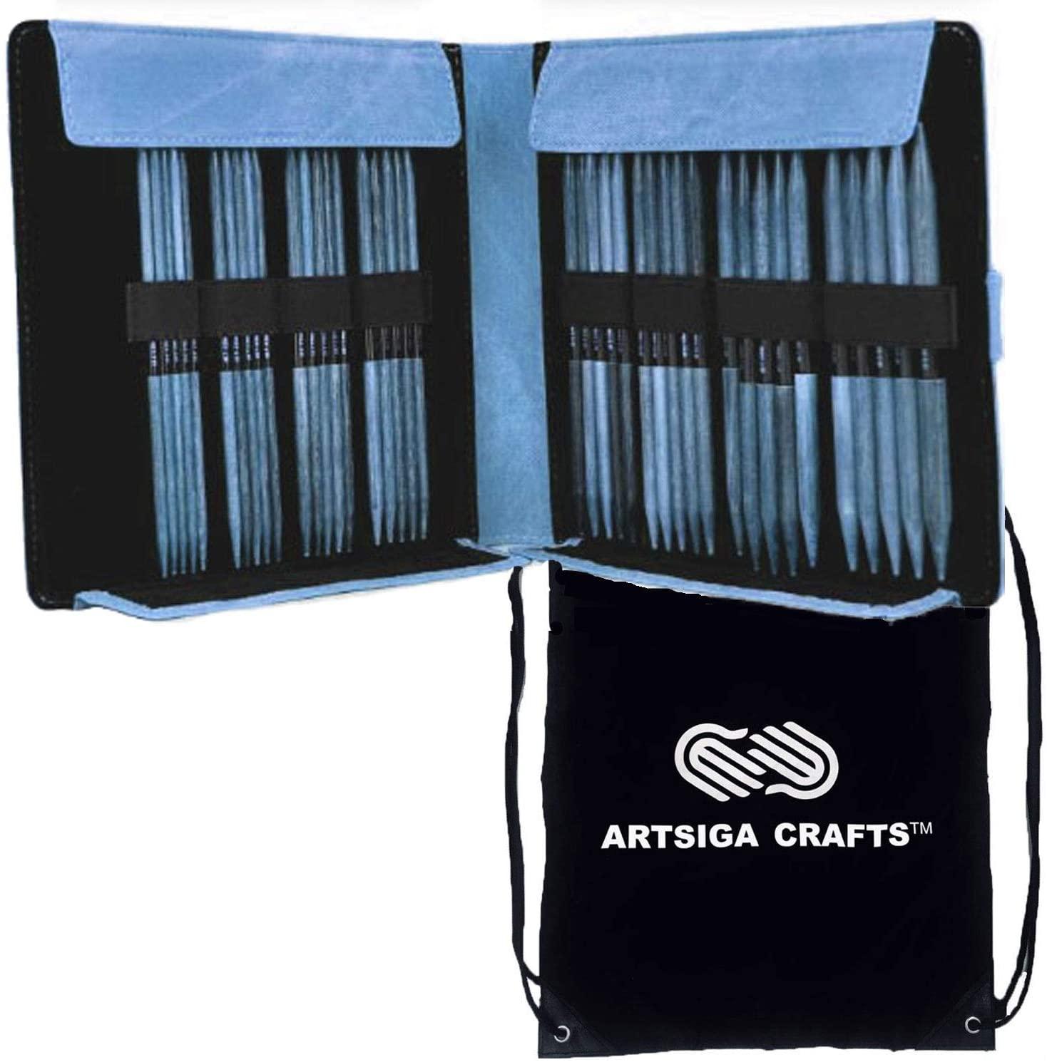 Lykke Knitting Needles Double Point DPN Large Size Set Indigo 6 inches Long (15cm) Indigo Denim Faux LeatherDouble Pointed Large Set Bundle with Artsiga Crafts Project Bag