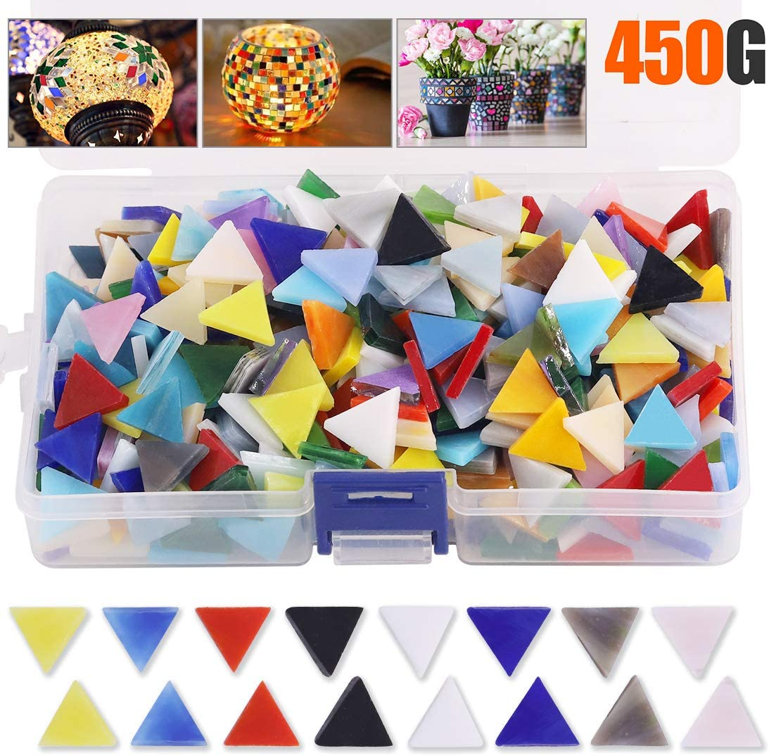 Rustark 450g Mosaic Tiles Pieces Mixed Color Stained Glass Bulk Mosaic Glass Assorted with Organizing Container for DIY Art Craft and Home Decorations (Triangle)