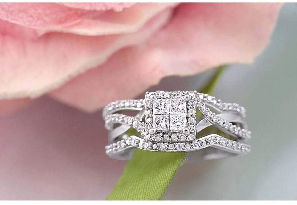Fashion Luxury Full Diamond Micro-Set 3A Cubic Zirconia Square Diamond Three-Piece Engagement Ring for Women (7)