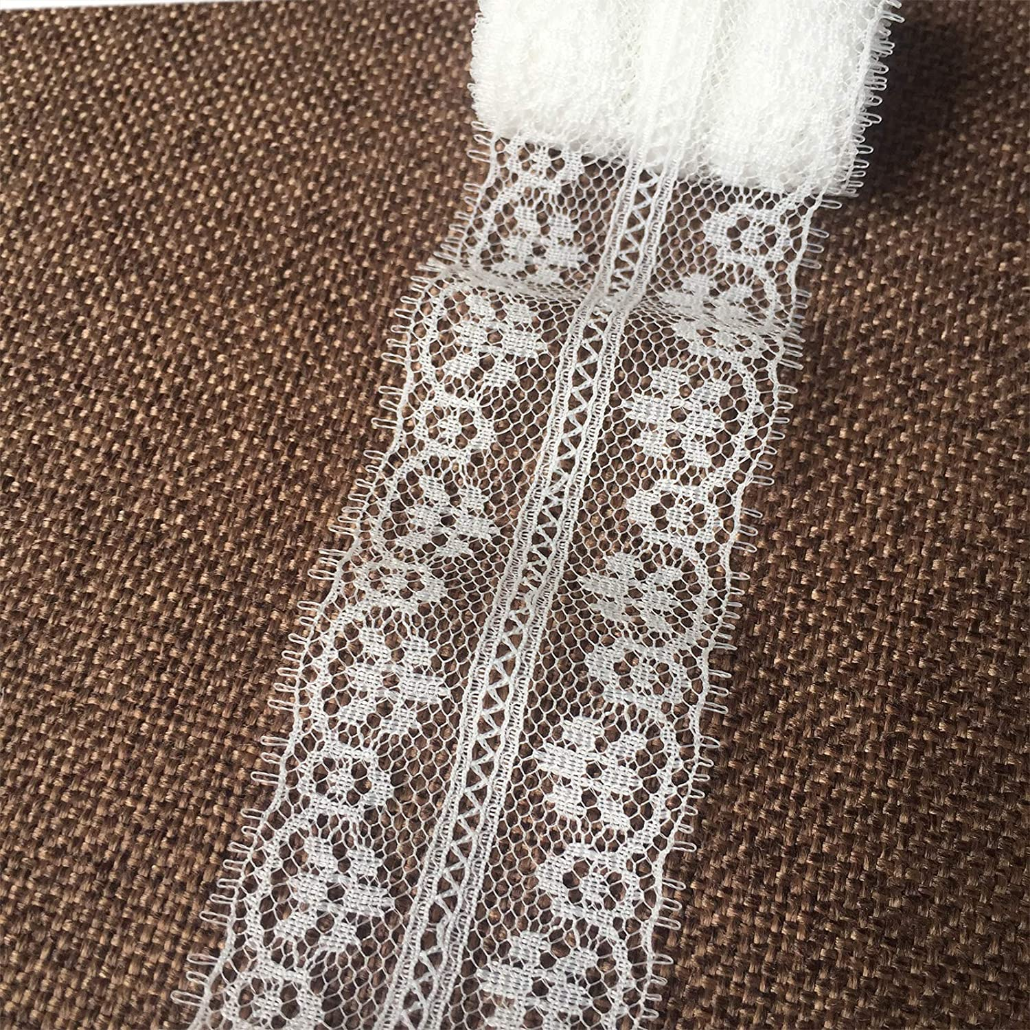 Olive Lace 1.4 inches Wide 10 Yards White lace Trim Ribbon with Floral Pattern for Bridal Wedding Decorations, Sewing DIY Making and DIY Crafts (h703 White)