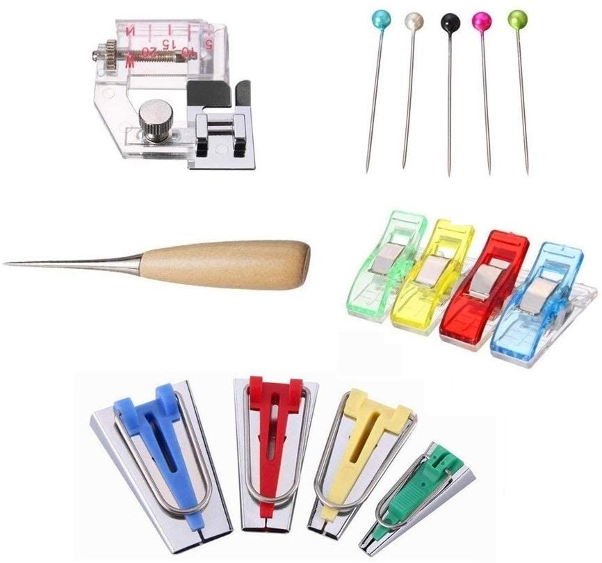 Bias Tape Makers Kit Sewing Fabri Accessory Binder Awl Pins DIY Quilting Tools Crafts Clips 6mm 12mm 18mm 25mm (Box Set)