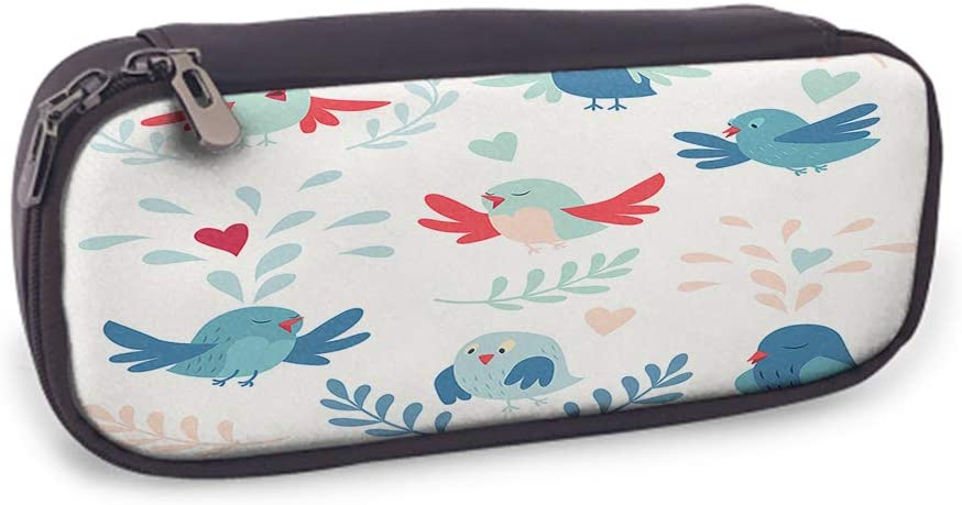 Cute Birds Leather Pencil Case Standing on Twig Flying Singing Freedom and Cheerful Pink Red Blue Zipper Pen Box School Supply for Students Big Capacity Stationery Box Pouch