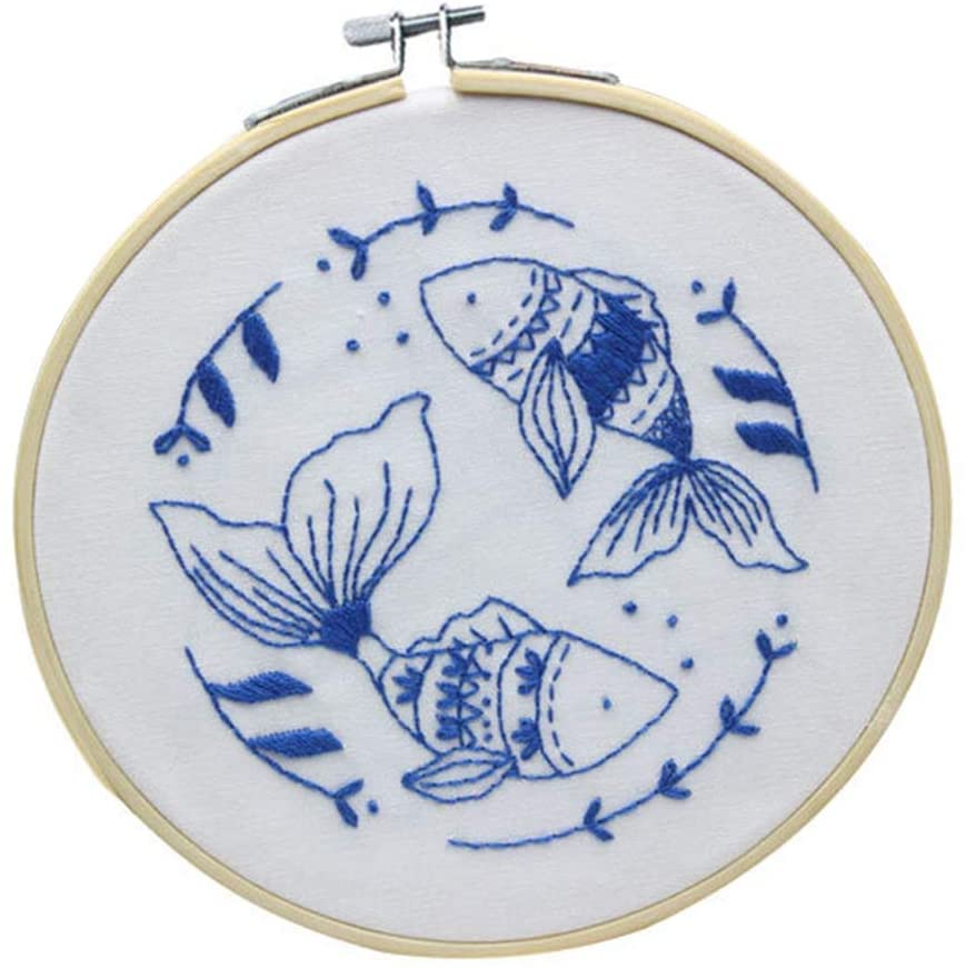 Yehapp Yehapp Embroidery Starter Kit with Pattern and Instructions, DIY Fish Pattern Embroidery Kit with Bamboo Embroidery Hoop Embroidery Clothes, Color Threads and Tools for Beginner