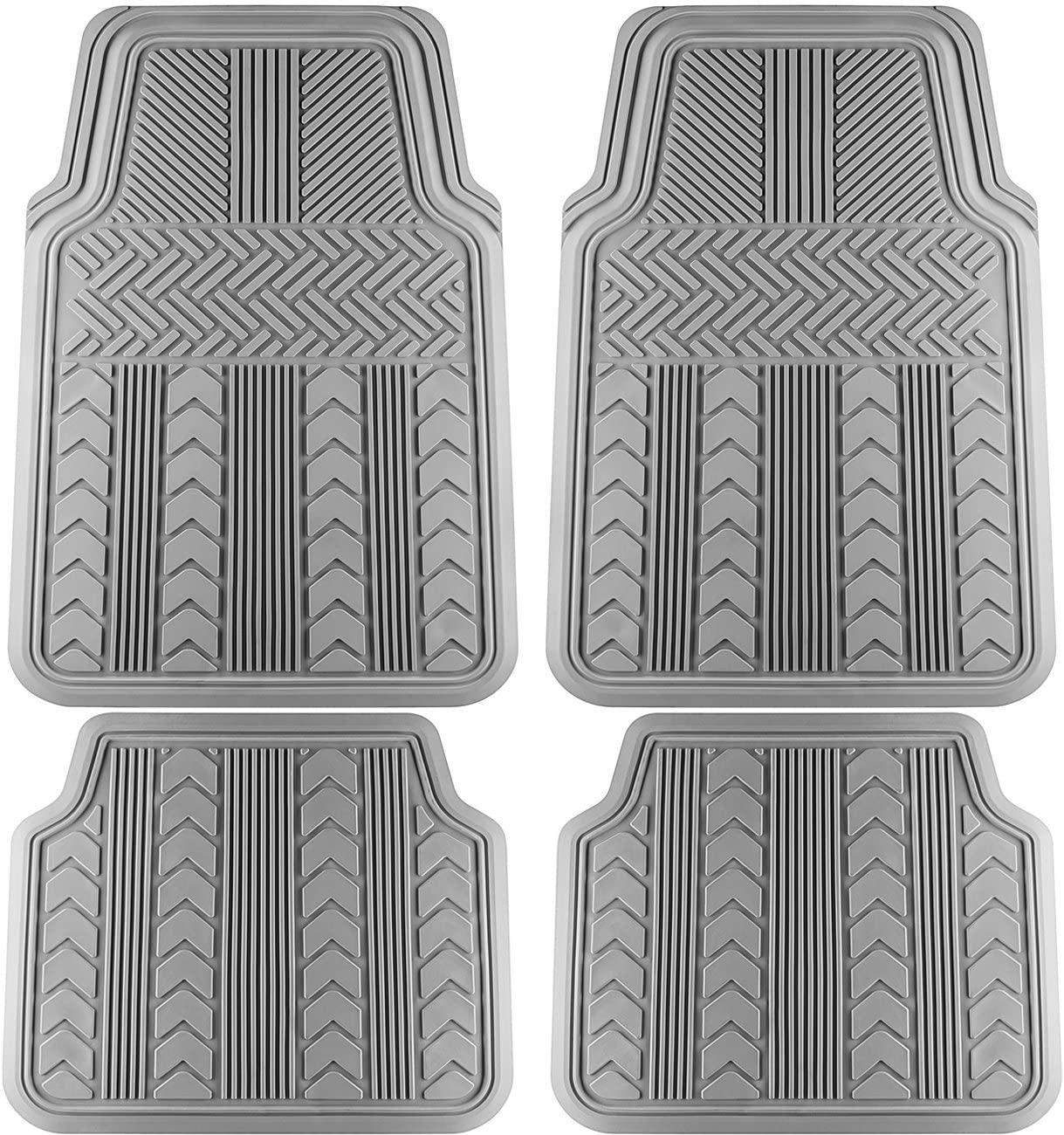 OxGord Universal Fit 4-Piece Full Set Tire Tread Heavy Duty Rubber Floor Mat - (Gray)