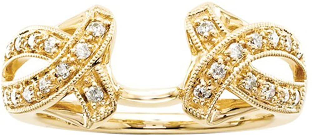14k Yellow Gold Plated 0.20 Simulated Diamond Solitaire Insert Wrap Ring Guard Solitaire Enhancer