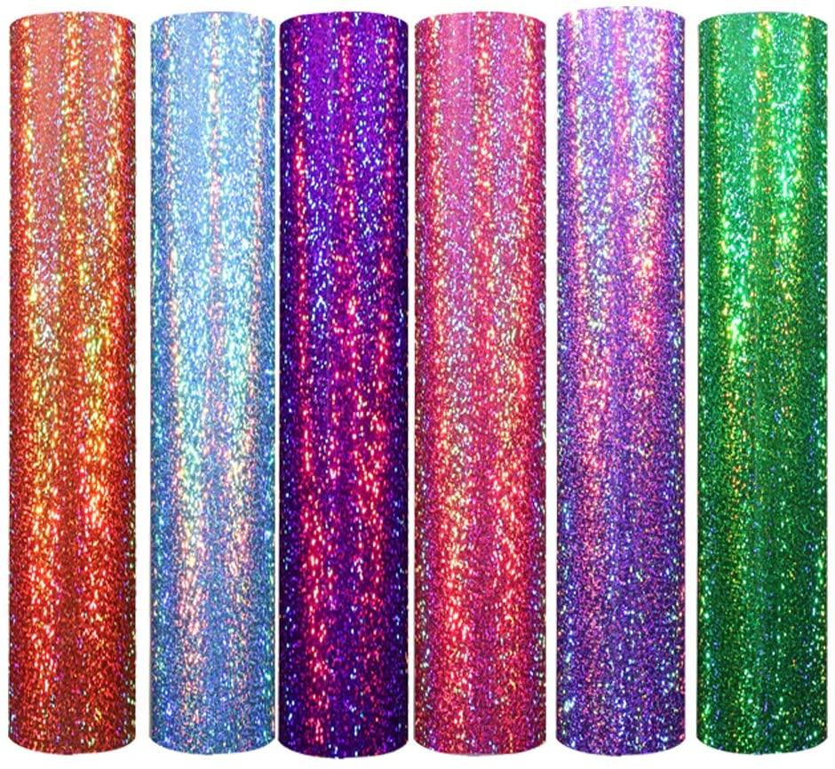 Holographic Shining Laser Heat Transfer Vinyl Multiple Colour Iron on Vinyl Sheets for T-Shirts and cricut Iron On Vinyl 12x10 6 Sheets (Purple,Violet,Green,Orange,Sky Blue,Pink HTV)