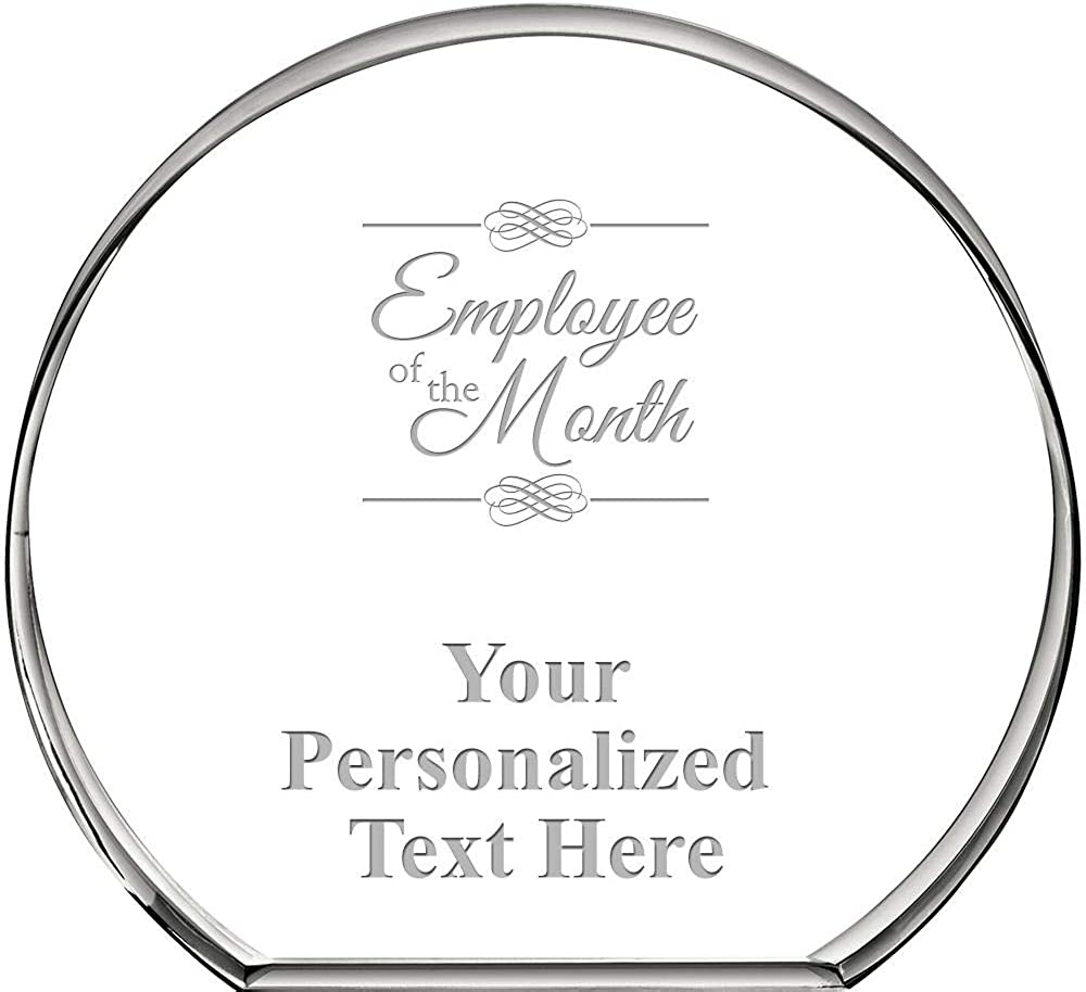 Employee Of The Month Standing Circle Paperweight, Custom Engraved Employee Crystal Paperweight Gift