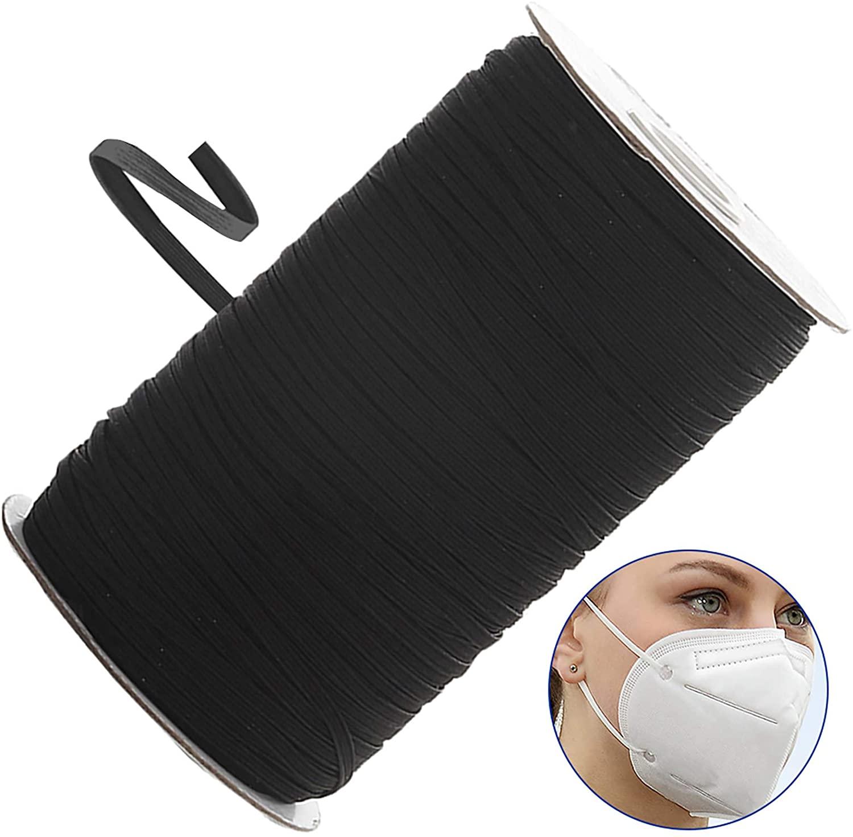 IRISVO 1/4 Elastic Bands for Sewing Black Width Braided Elastic Bands Rope Elastic String Cord for Sewing Craft DIY