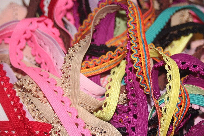 LOT 20 Yards Random Grab Bag Picot Edged Lingerie Sewing Elastic 1/2 3/8