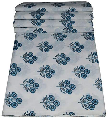 Indian Hand Block Floral Print Cotton Fabric Dressmaking Materials Running Fabric by The by Yard (White 8, 5 Yard)