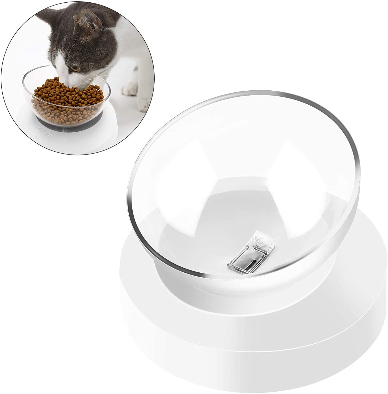 FPVERA Cat Dog Bowl Raised Cat Food Water Bowl with Detachable Elevated Stand 0-20°Adjustable Tilted Pet Bow for Cats and Small Dogs