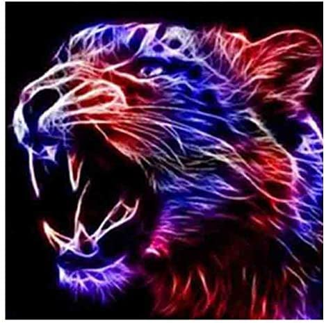 Full Round Diamond Painting 5D DIY Diamond Embroidery Mosaic Pattern Tiger Growl Picture Home Decor Gift Cross Stitch Kits 40X50Cm