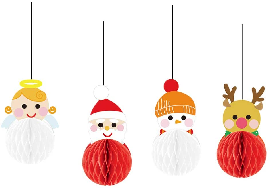 NUOBESTY 12pcs Christmas Pom Pom Decorations Hanging Tissue Paper Balls Christmas Party Decorations Supplies