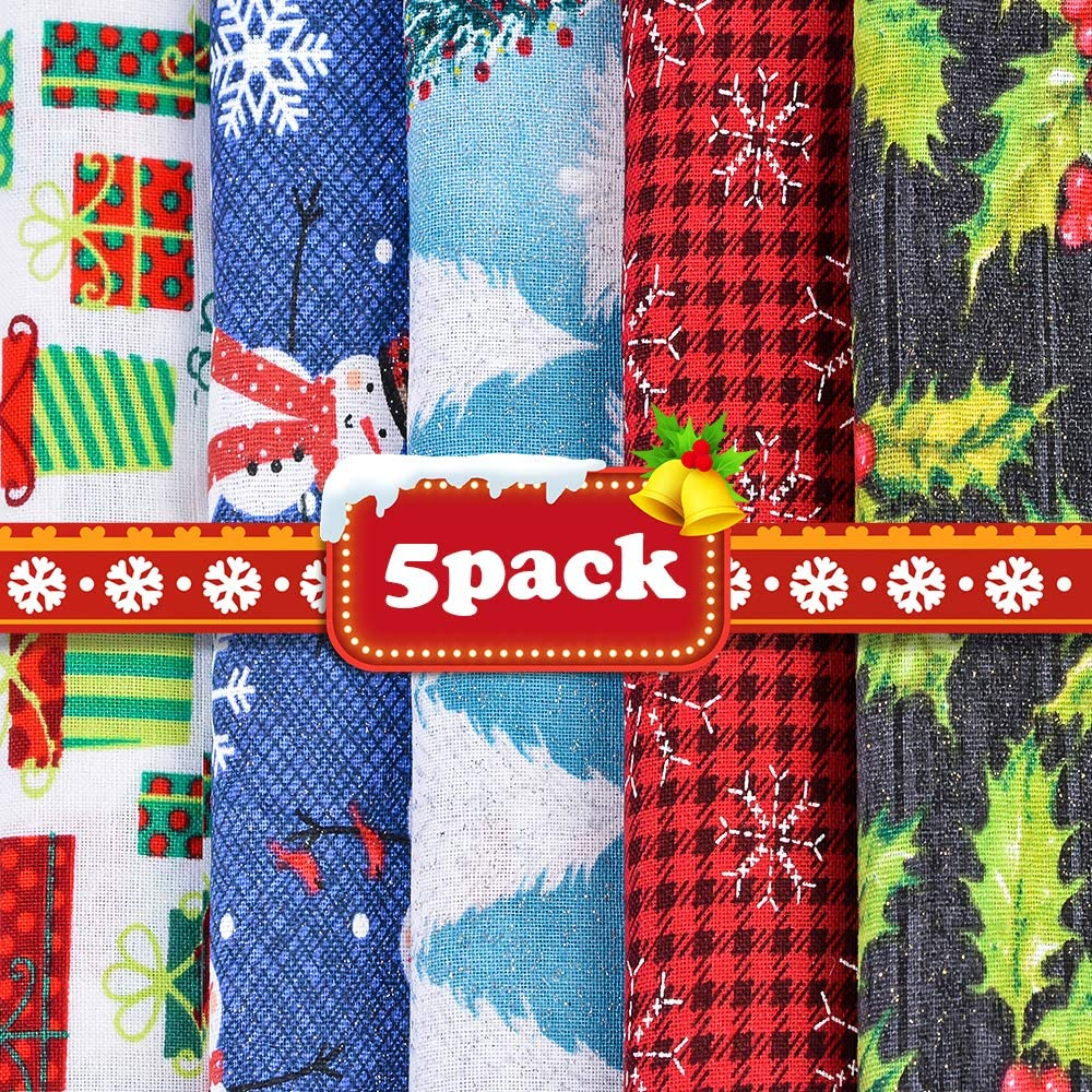 Souarts 5Pcs Christmas Style Cotton Craft Fabric Sewing Patchwork Cloths DIY Craft Square Fabric Christmas Tree Snowflake Snowman Pattern