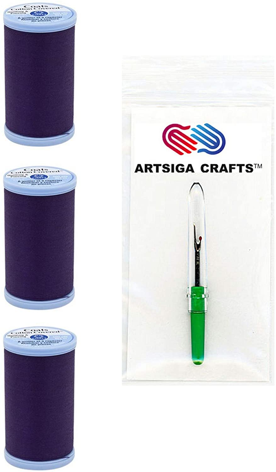 Coats & Clark Sewing Thread Quilting & Piecing Cotton Covered Thread 500 Yards (3-Pack) Purple Bundle with 1 Artsiga Crafts Seam Ripper S926-3690-3P