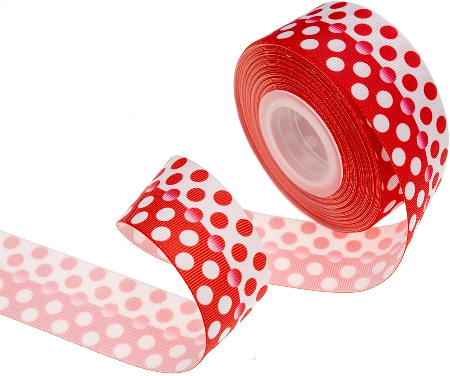 ATRBB 20 Yards 1-1/2 Inch Wide Classic Contrast Color Gradient Polka Dot Pattern Printed Grosgrain Ribbon for DIY Hair Accessories Gift Wrapping Bow Headbands and Crafting (Red & White)