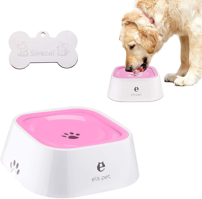 FPVERA Dog Water Bowl Dog Bowl No-Spill Dog Water Dispenser Cat Water Dispenser Slow Water Feeder Dog Bowls 35oz No-Slip Water Bowl for Dogs Cats Pets
