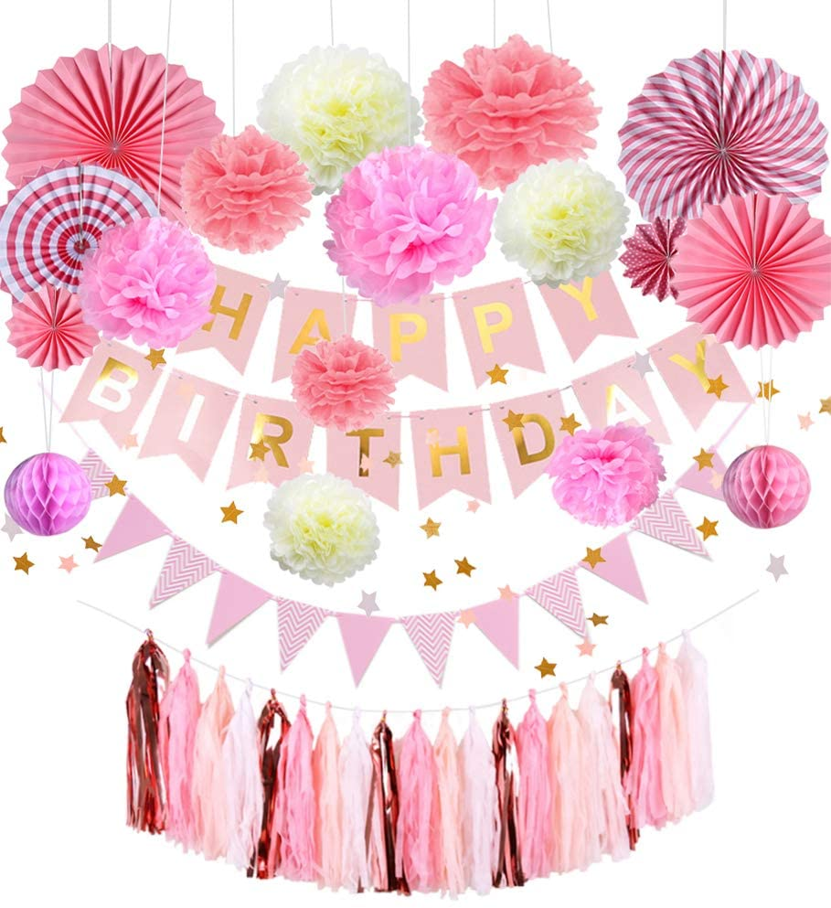 Tissue Paper Pom Poms Flowers Balls DIY Tassels Party Decorations Combo Kit, Star Garland Banner Triangle Flags and Fans Hanging Ornaments for Birthday, Weddings, Proms, Baby Showers (Pink)