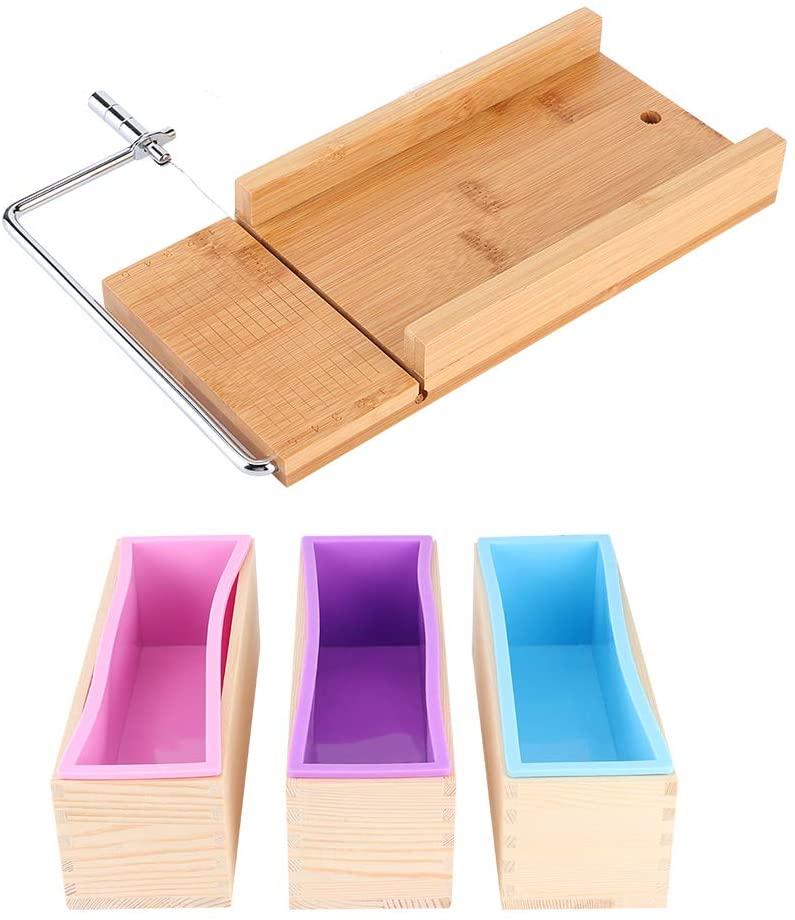 Taidda Soap Cutter, Silicone, Dishwasher Safe, 1200ml, Soap Making Mold, Household Wooden Box