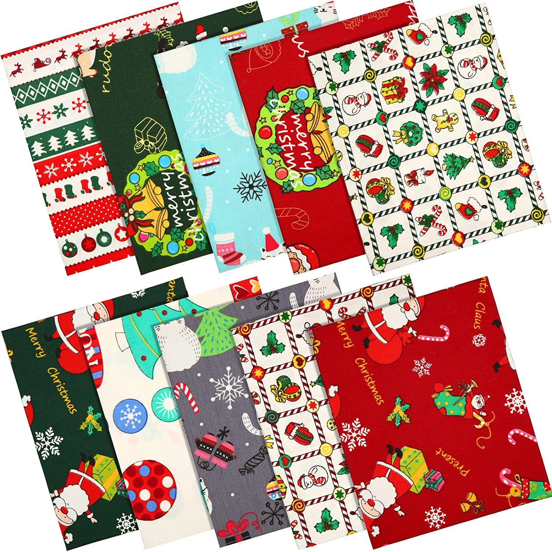 10 Pieces Christmas Cotton Fabric Bundles Quilting Sewing Fabric Cotton Fabric Squares Fat Quarters Cotton Fabric Santa Print Quilting Fabric Bundle Patchwork Fabrics for DIY Craft Scrapbooking