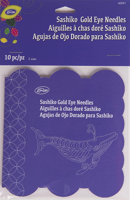 LoRan 40091 Sashiko Gold Eye Hand Needles, 10 Count