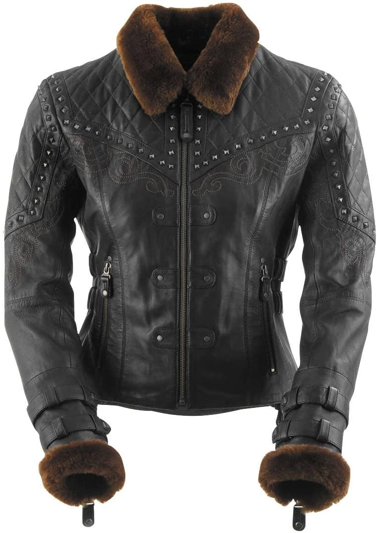 Black Brand Women's Leather Sheared Beaver Motorcycle Jacket (Black, Small)